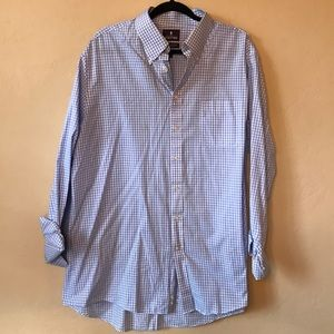 Men's casual light blue gingham button down.